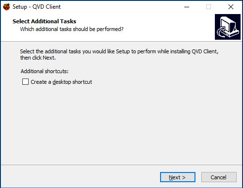 Installation wizard of Windows QVD Client